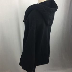 Theory Black Wool Cashmere Blend Hooded Cardigan M